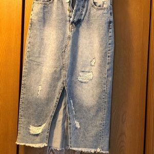 Super Cute Jean Skirt with Rips and a Slit!